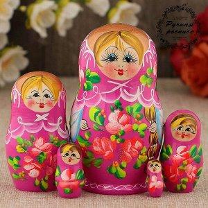 Матрёшка «Розочки»,  розовое платье, 5 кукольная, 10 см
