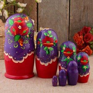 Матрёшка «Маки», фиолетовый платок, 7 кукольная, 22 см