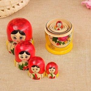 Матрёшка «Семёновская», красный платок, 5 кукольная, 18 см