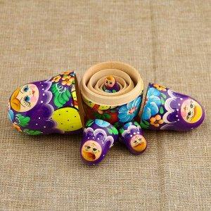 Матрёшка «Корзинка», фиолетовый платок, 5 кукольная, 10,5 см
