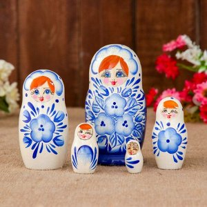 Матрёшка «Гжель», бело-голубой платок, 5 кукольная, 10,5 см