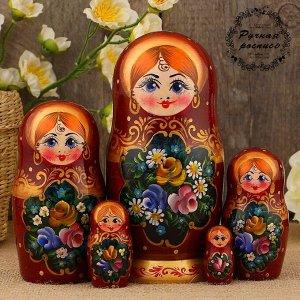 Матрёшка «Полевые цветы», медный платок, 5 кукольная, 17 см