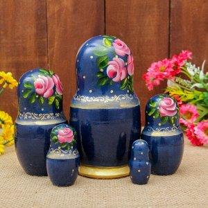 Матрёшка «Жостово», синий платок, 5 кукольная, 17 см, МИКС