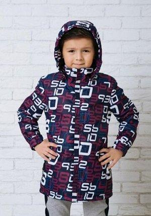 """Арт.214 Куртка с ярким принтом на синтепоне для мальчика. Застежка на замок-""""молнию"""" с ветрозащитной планкой. Капюшон, боковые карманы на замках."""