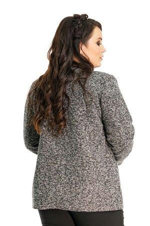 Пиджак букле с кожаным кантом