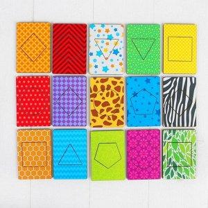 Деревянные карточки «Фигуры» набор 15 карточек: 5,5 х 8,3 см