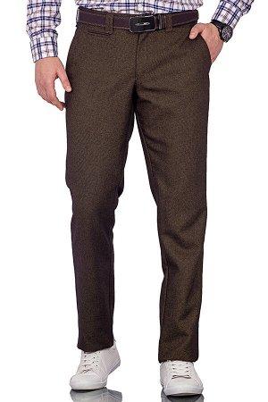 Брюки Модель casual без стрелок. Цвет коричневый. Состав шерсть-35%, вискоза-35%, полиэстер-27%, эластан-3%. Бренд Svyatnyh. Фактура узор. Посадка узкие