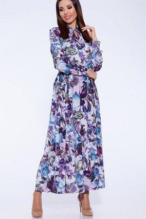 #58798 Платье Серый/фиолетовые цветы