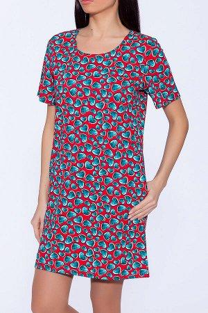 #49671 Платье Красный/Изумрудные сердечки