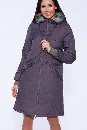 #55999 Пальто Темно-серый