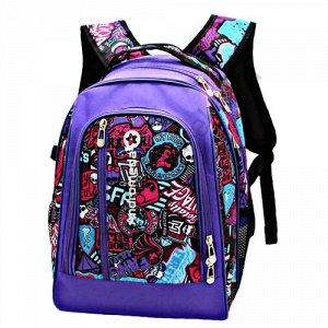 Рюкзак Д30хШ13хВ38 Школьный вмстительный рюкзак, один основной отдел на молнии, объемный карман на передней стенке, два боковых кармана из сетки, ортопедическая спинка, усиленные лямки, светоотражающи