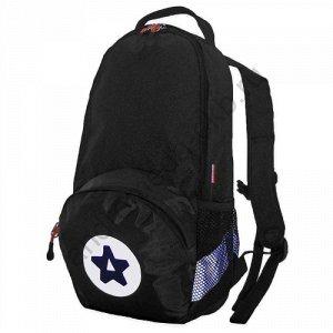 Рюкзак Д21хШ12хВ42 Рюкзак прогулочный, один основной отдел на застежке молния, карман на передней стенке, объемные карманы из сетки по бокам рюкзака, фиксация на груди.