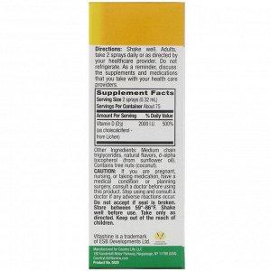 Country Life, спрей с витамином D3, с бобами ванили, 50 мкг (2000 МЕ), на 150 впрыскиваний, 24 мл (0,81 жидк. унции)