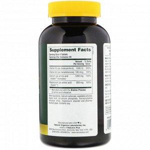 Nature&#x27 - s Plus, Кальций, магний и витамин D3, с витамином K2, 180 таблеток