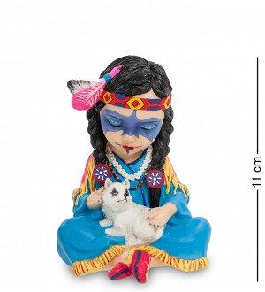 "WS-792 Статуэтка в стиле Фэнтези ""Индейская девочка с волчонком"""