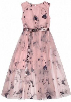 """Платье """"На резинке с ремнем"""" розовый, рост 146."""