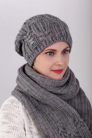 710l03 комплект (шапка шарф); графит; полная подклада флис -  50% шерсть - 50% пан, добавлена нить с пайетками