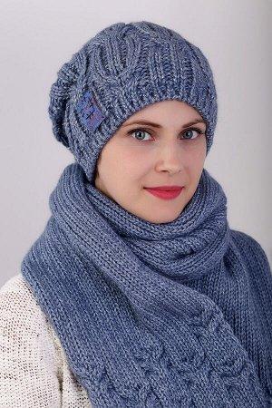 Комплект комплект (шапка шарф); джинс; полная подклада флис -  50% шерсть - 50% пан, добавлена нить с пайетками