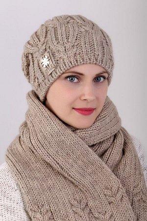 Комплект комплект (шапка шарф); капучино; полная подклада флис -  50% шерсть - 50% пан, добавлена нить с пайетками