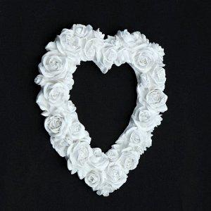 """Фоторамка """"Сердце из роз"""" белая"""