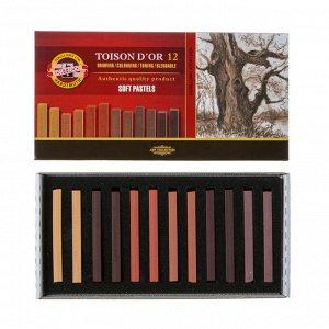 Пастель сухая художественная 12 цветов, Soft Koh-I-Noor TOISON D`OR 8592, 2B, градация коричневого