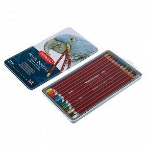 Пастель сухая художественная в карандаше, набор Derwent Pastel Hard 12 цветов, в металлической упаковке