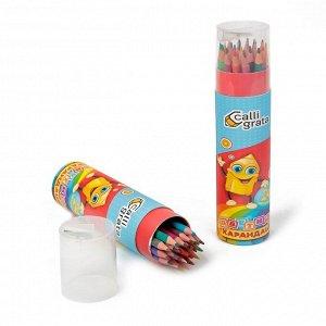 Карандаши 24 цвета, в тубусе с точилкой