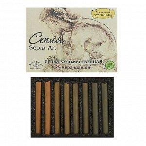 Сепия светлая/тёмная, 4 цвета, 8 штук, «Мастерская художника», в картонной коробке