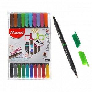 Набор ручек капиллярных 20 цветов, 10 штук, Maped Graph Peps Duo 0.4 мм, трёхгранный корпус