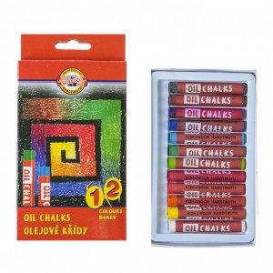Пастель масляная 12 цветов, Koh-I-Noor 8312, картонная упаковка , европодвес