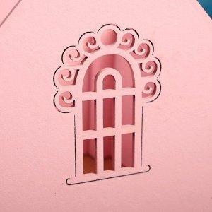 """Кашпо деревянное 15?14.5?17.7 см """"Домик купца"""", с окошком, с ручкой, розовый пастельный"""