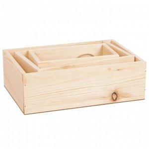 Набор деревянных ящиков 3 в 1 с шильдиком (натуральный)