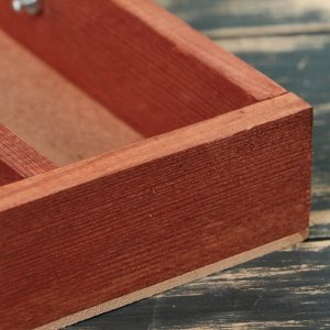 """Кашпо деревянное 25?23?4.5(25) см """"Макарунас"""", ручка (складная), мокко"""