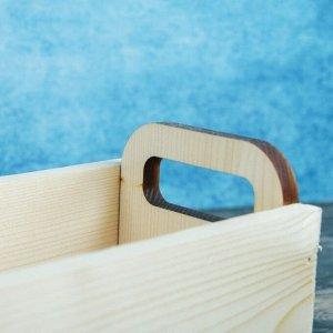 """Кашпо деревянное 24.5?11?9.5 см Ладья """"Модерн дизайн"""", ручки вырезы боковые, натуральный"""