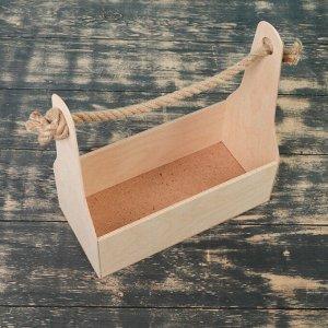 Кашпо деревянное 24?11?20 см Стелла Моно, ручка верёвка, натуральный