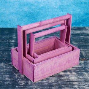 """Набор кашпо деревянных подарочных Элегант """"Классик"""", 3 в 1, с ручкой, розовый"""