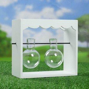 Подставка деревянная с двумя стеклянными кашпо 10*22*20 см