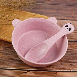 Набор детской посуды из пшеницы/панда розовый