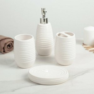 Набор аксессуаров для ванной комнаты «Улей», 4 предмета (дозатор 350 мл, мыльница, 2 стакана)