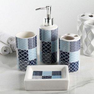 Набор аксессуаров для ванной комнаты «Мозайка», 4 предмета, цвет МИКС