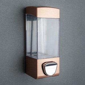 Диспенсер для антисептика/жидкого мыла механический, 350 мл, пластик, цвет коричневый