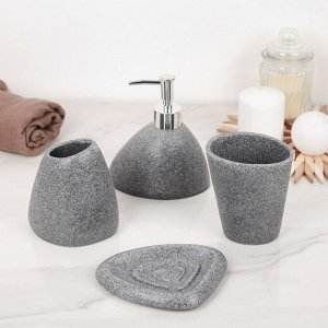 Набор аксессуаров для ванной комнаты «Прибой», 4 предмета (дозатор 200 мл, мыльница, 2 стакана)
