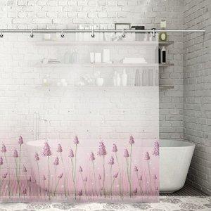 Штора для ванной комнаты Доляна «Лаванда», 180?180 см, PEVA
