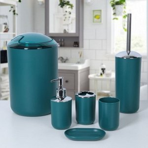 Набор аксессуаров для ванной комнаты «Тринити», 6 предметов (дозатор, мыльница, 2 стакана, ёршик, ведро), цвет синий