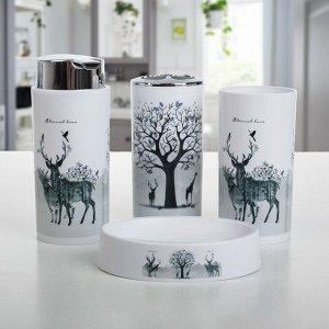 Набор аксессуаров для ванной комнаты «Тень горы», 6 предметов (дозатор, мыльница, 2 стакана, ёршик, ведро)