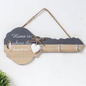 """Крючки декоративные дерево """"Дом там, где сердце!"""" 22х5,2х29 см"""