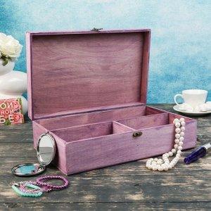 Подарочный ящик 34?21.5?10.5 см деревянный 3 отдела, с закрывающейся крышкой фиолетовый