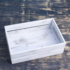 Ящик деревянный 30?20?10 см подарочный с реечной крышкой, состаренный