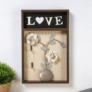 """Крючки декоративные дерево """"Ваза с розами. Love"""" 31х20х3 см 3912989"""