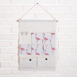 Органайзер с карманами подвесной «Фламинго», 7 отделения, 38?46,5 см, цвет серый 3572001